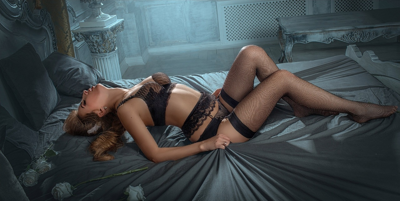 artistic girl in sexy lingerie